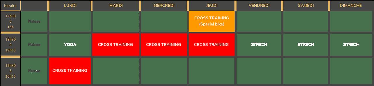 Planning Rentrée 2021 - Cross Training
